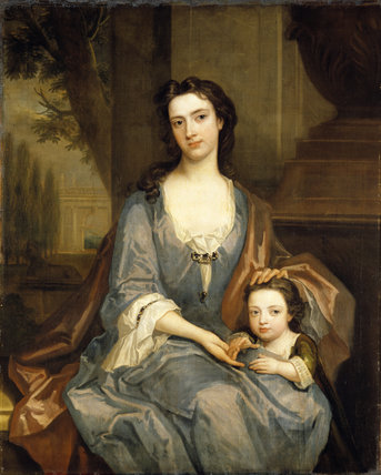 HON CATHERINE CREWE, WIFE OF SIR JOHN HARPUR, 4th BT, WITH ONE OF HER CHILDREN, by Charles Jervas (c.1675-1739)