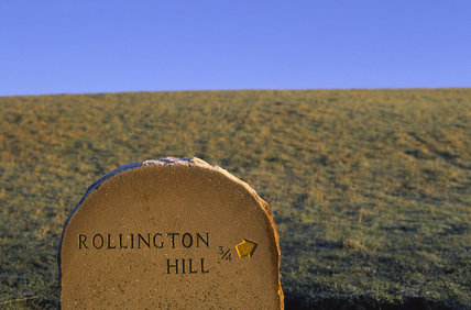 A footpath direction sign, pointing to Rollington Hill  (Not NT property) from East Hill, near Corfe Castle (grid reference SY963822)