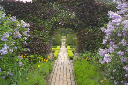 A brick path through the Fuchsia Garden towards the Bathing Pool Garden at Hidcote Manor Garden, Gloucestershire