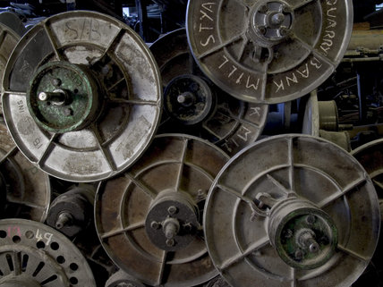 Detail of old machinery and equipment kept in the parts store at