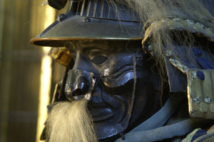 Close view of Japanese Samurai armour, part of a remarkable C17th to C19th collection of twenty six suits of armour, in the Green Room at Snowshill Manor