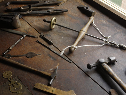 Close view of the watchmaker's tools in the 1840s house at the Birmingham Back to Backs
