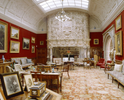 The Drawing Room towards the Italian marble chimneypiece at Cragside, Northumberland