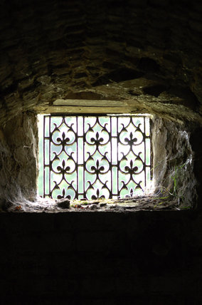 View of a delicately designed ironwork grille covering a window opening seen from inside, looking out, at Mottisfont Abbey