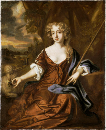 A COURTESAN, a portrait at Chirk Castle, attributed to Sir Peter Lely,(1618-1680),post-conservation