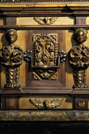 Detail of the carvings on an Italian carved chest of 1698 in Ann's Room at Snowshill Manor
