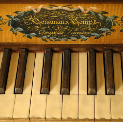 Close view of part of the Longman square piano c.1800 in the room known as Nadir at Snowshill Manor, Gloucestershire.