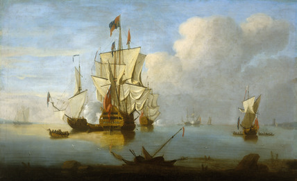 A MAN-OF-WAR FIRING A SALUTE IN A CALM by Peter Monamy