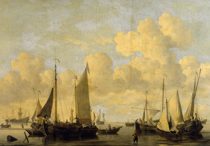 SHIPPING IN A CALM by Willem van der Velde the younger (1633-1707) from the Corridor at Polesden Lacey