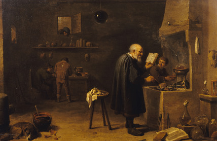 THE ALCHEMIST by David Teniers the Younger (1610-1690) in the West Corridor at Polesden Lacey