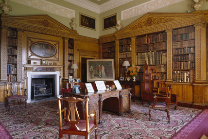 View of the Library at Nostell Priory: the first room in the house to be remodelled by Robert Adam & View of the Library at Nostell Priory: the first room in the house ...