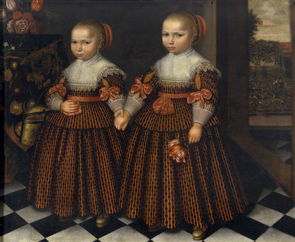 TWO GIRLS HOLDING HANDS, Dutch (Frisian) School, 17th century, at Dudmaston, Shropshire