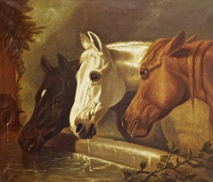 Three Members Of The Temperance Society Three Horses At