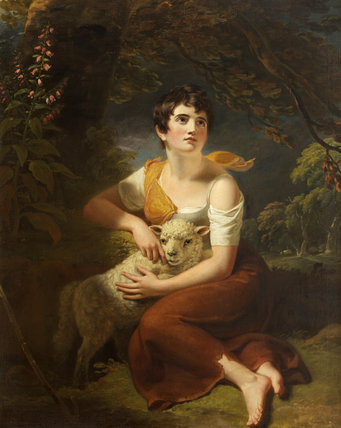 A Shepherdess with a  Lamb in a Storm