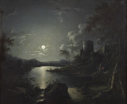 Moonlit River Scene with a Tower, and a Cottage