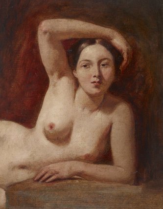 Half-figure of a Female Nude Reclining
