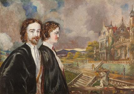 dward Heneage Dering (1826-1892) and Marmion Edward Ferrers (1813-1884), in the grounds of a Victorian country house