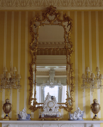 Hinton Ampner, view showing Rococo overmantel and mirror in the Drawing Room
