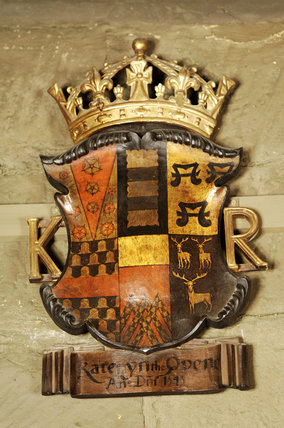 The coat of arms of Katherine Parr on the wall of Dragon, at Snowshill Manor