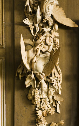 Detail of the limewood carving in the Marble Hall at Belton House, Lincolnshire, UK, depicting gamebirds, peapods and ears of corn, possibly by Grinling Gibbons