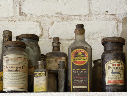 Bottles of various medicinal and cleaning preparations - details from the old laundry in the Courtyard at the Birmingham Back to Backs