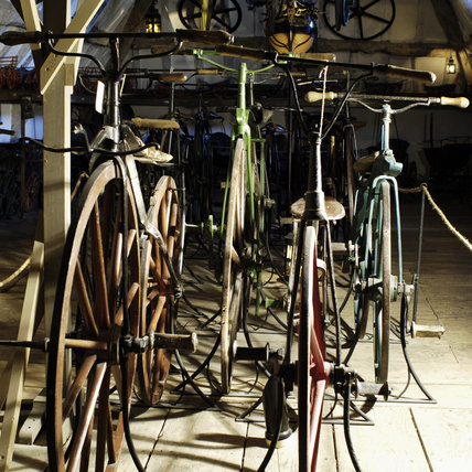 Velocipedes or boneshaker bicycles from the second half of the C19th, part of the collection of Charles Wade in Hundred Wheels at Snowshill Manor