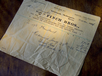 A receipt from the Finch Brothers dated Xmas 1936 Finch Foundry