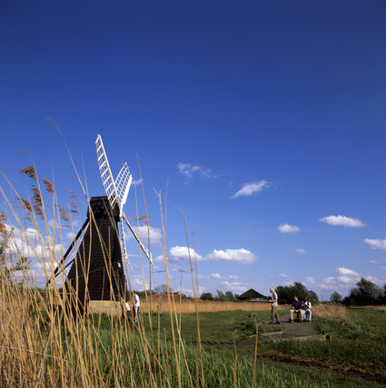 Distant view of wind pump (windmill) at Wicken Fen, Cambridgeshire