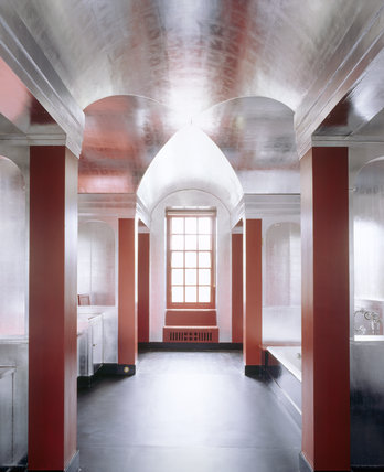 The Art Deco bathroom at Upton House, created in the late 1920s by Morley Horder for Dorothy, wife of the 2nd Lord Bearsted