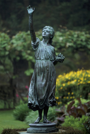 Statue of girl is a focal point in this luxuriant garden, Overbecks