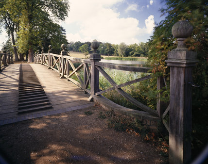 Sunlight falling upon the wooden Chinese Bridge at Wimpole Hall