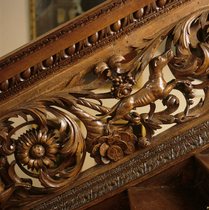 A close up of the balustrade on the magnificent oak staircase, installed by Colonel Francis Luttrell in the 1680s