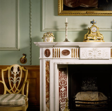 The marble chimney piece in the Drawing Room, installed by Salvin in the late 18th Century