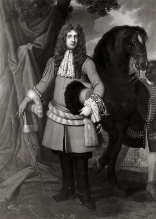A Black and White photograph of the painiting of CAPTAIN THOMAS LUCY by Kneller c. 1680