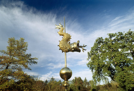 Weather vane on the Chinese pagoda in the Water Garden at Cliveden