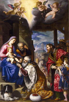 ADORATION OF THE MAGI by Cigoli, signed and dated 1605, at Stourhead