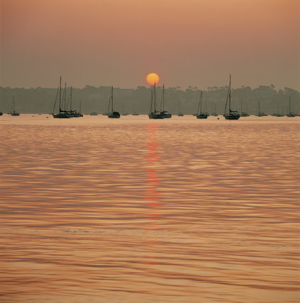 Sunrise over Poole harbour, sun reflected in the sea, silhouettes of boats