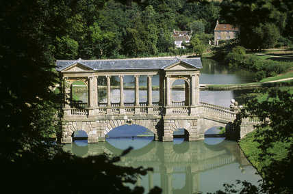 The Palladian Bridge at Prior Park built by Richard Jones in 1755 and differs to one similar at Stowe, in that the central columns of the loggia are wider apart than the others
