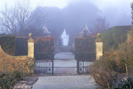 The view from the Old Garden looking towards the gates at Hidcote Manor Garden