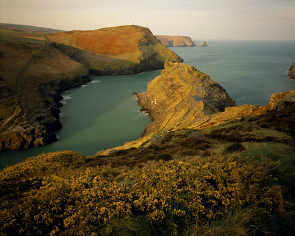 Looking seaward from Boscastle Harbour, with Penally Point on the north side and Willapark on the opposite shore