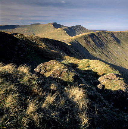 Looking west to the three main Beacons peaks from Craig Cwareli