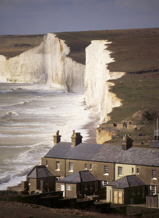 The Coastguard Cottages at Birling Gap with part of the Seven Sisters in the background