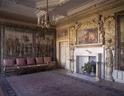 The marble chimneypiece in the North Drawing Room, with its distinctive surround of carved and gilded Solomonic columns