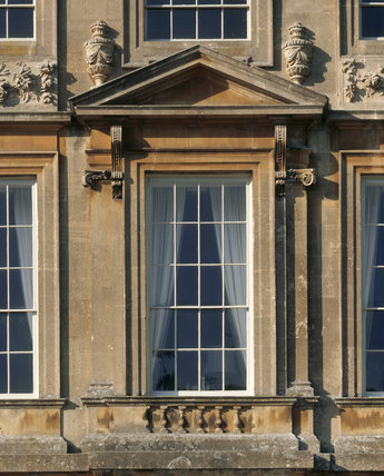A detailed close up of the East Front of Dyrham Park