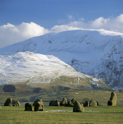 Derwentwater, Lake District, Cumbria, Castlerigg Stone Circle, with Clough Head beyond, snow covered