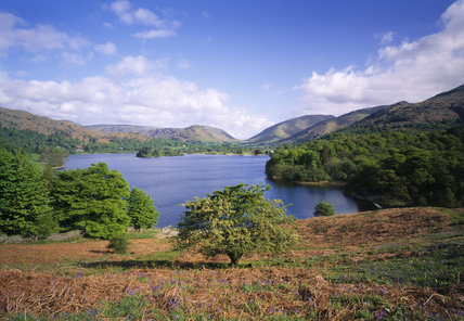 The blue water of Grasmere from Loughrigg Terrace