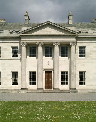 View of the north facade of Castle Coole showing the portico with its composite order columns