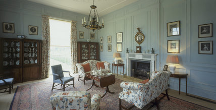 The Library at Hanbury Hall, showing part of the Watney Collection displayed in a pair of Regency bookcases