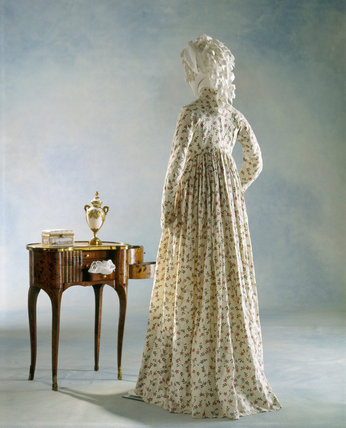 View of the back of a printed cotton dress, c.1795-1800