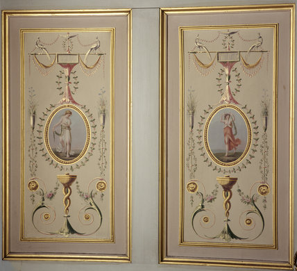 Wall panels in the Boudoir, Attingham Park